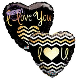 maxiglobos globos metalizados i love you golden chevron 19834